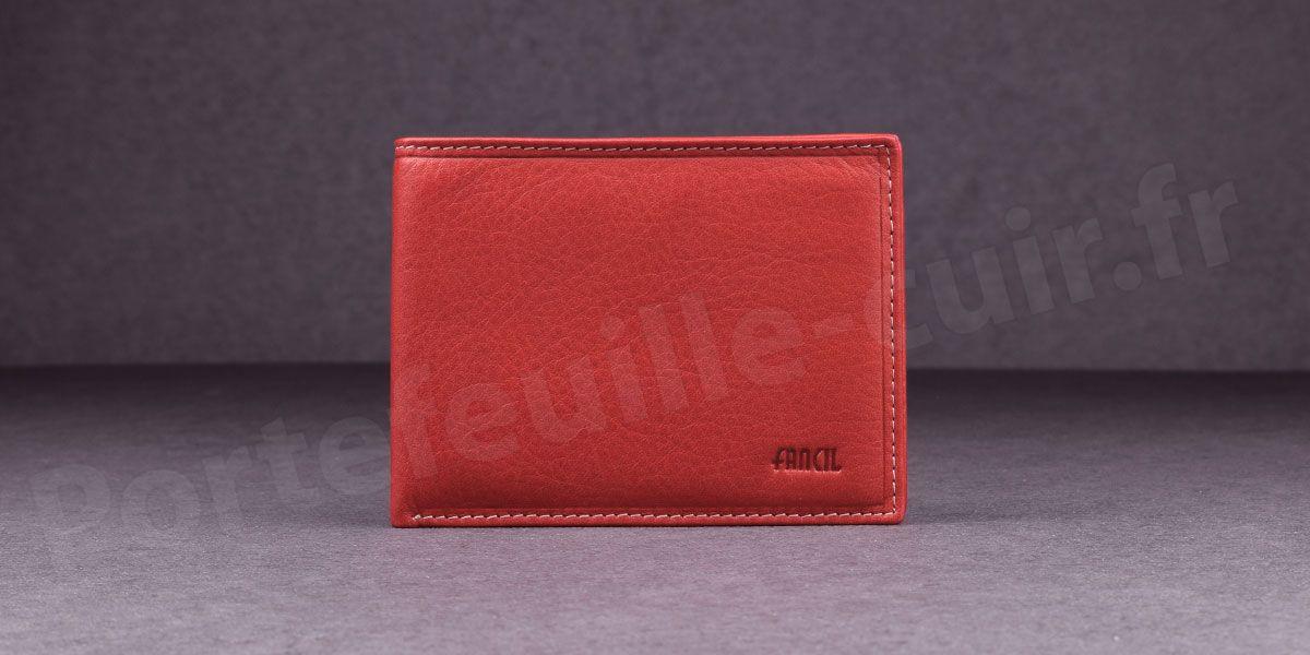 Fancil SA908 Portefeuille format italien en cuir - couleur Rouge