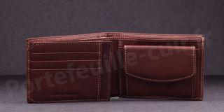 Fancil SA908 Portefeuille format italien en cuir - couleur Marron