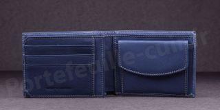 Fancil SA908 Portefeuille format italien en cuir - couleur Bleu