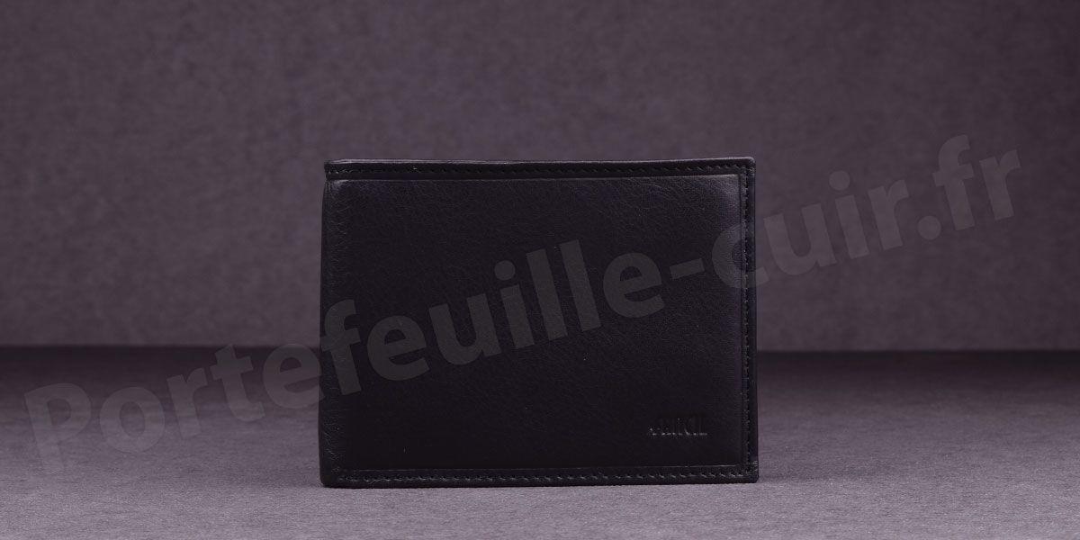 Fancil SA908 Portefeuille format italien en cuir - couleur Noir