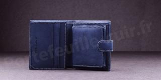 Porte-monnaie en cuir de vachette Fancil SA903 Bleu Jean