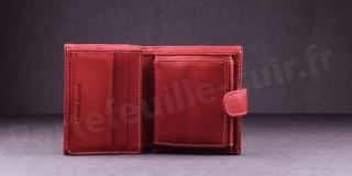 Porte-monnaie en cuir de vachette Fancil SA903 Rouge