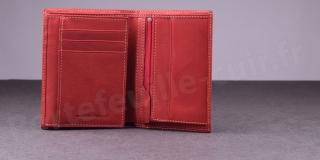 Fancil SA911 Portefeuille cuir 2 Volets Rouge