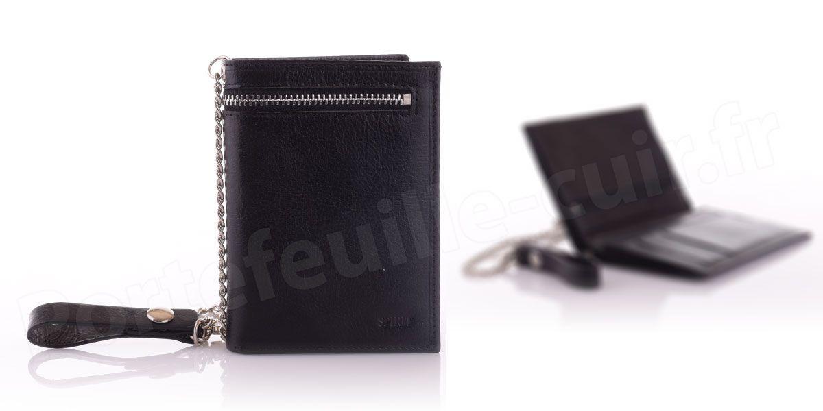 Portefeuille en cuir avec chaîne Spirit R6549 Noir