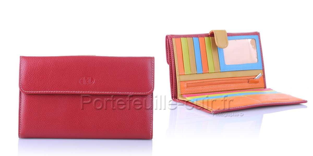 Compagnon femme cuir multicolors April 28606 Rouge