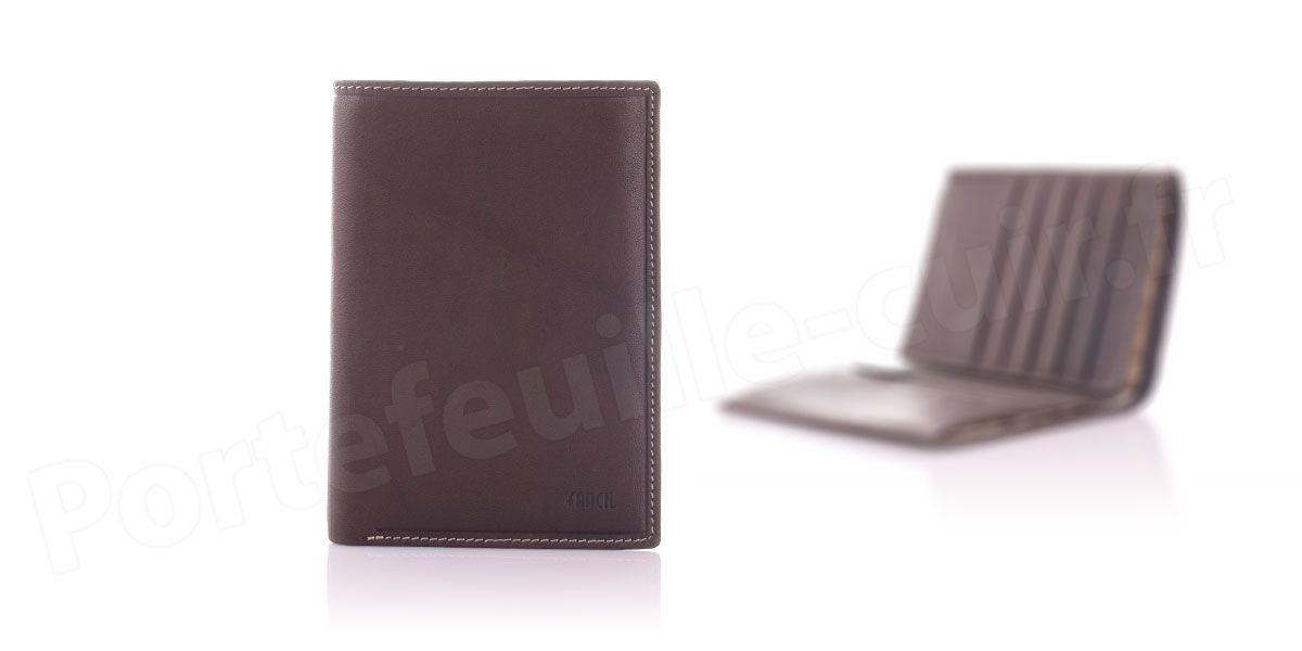 Fancil SA901 Portefeuille cuir 2 Volets Couleur Taupe