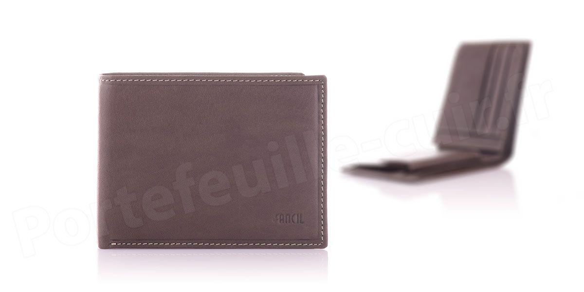 Fancil SA908 Portefeuille format italien en cuir - couleur Taupe
