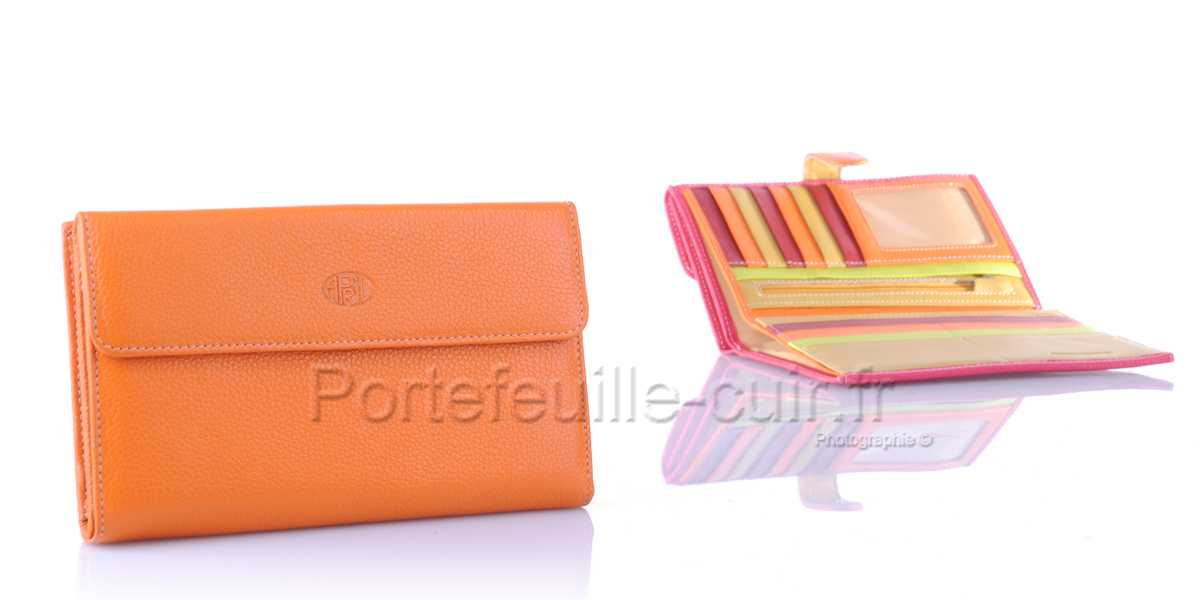Compagnon femme cuir multicolors April 28606 Orange